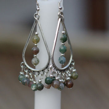 Indian Agate Teardrop Chandelier Earrings ~ Statement Earrings ~ Semi Precious Stones ~ Bohemian Green ~ Boho Jewelry ~ Birthday Gift ~ OOAK
