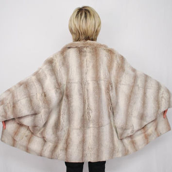 Chinchilla Pattern Jacket Dolman Sleeves Sheared Lamb Mink Fur Coat Size L Xxl (German Furrier)