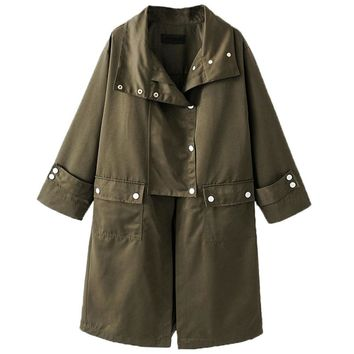 Army Green Wide Lapel Long Line Over Sized Trench Coat Women Long Sleeve Buttons Up Pockets Front Loose Fall Winter Outwear