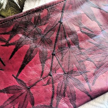 Red Italian Leather Pouch Wallet w/Black Handpainted Leaves