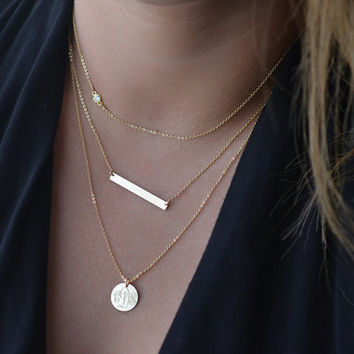 Layered Necklace Set, Delicate Gold Layer Necklaces, Gold Bar Necklace, CZ Diamond Necklace, Monogram Necklace