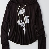 AEO Women's Soft & Sexy Graphic Hoodie T-shirt (True Black)