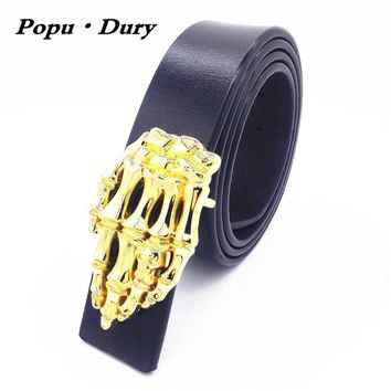 Popu`Dury New Pure Cowskin Men Belts Luxury Punk Metal Rock Belts Skull Devil Ghost Claw Belts
