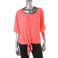 Style & Co. Womens Knot-Front Scoop Neck Pullover Top