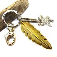 Cool Golden Feather And Eagle Keychain