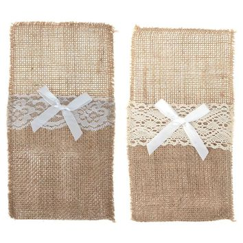 Linen Table Rectangle Lace Dinning Coffee Placemat Forks Knife Bags Cover Tableware Holder Birthday Wedding Party Decorations