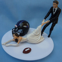 Wedding Cake Topper Baltimore Ravens G Football Themed w/ Garter, Display Box