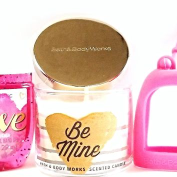 Bath and Body Works Mini Candle Be Mine, Love PocketBac & Hot Pink Holder