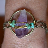 Wire wrapped Amethyst. Turquoise/Copper beads. Good Vibes.