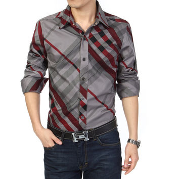 Mens striped autumn 2015 new fashion casual-shirt long sleeve 5xl plus size 6XL 4XL hot sale Free shipping