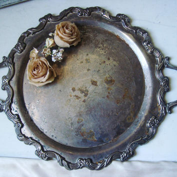 Vintage Silver Plate Ornate Serving Platter Tray, Rustic Shabby Chic Decorative Metal Tray, Wedding Decor, Farmhouse Tray, Patina Tray