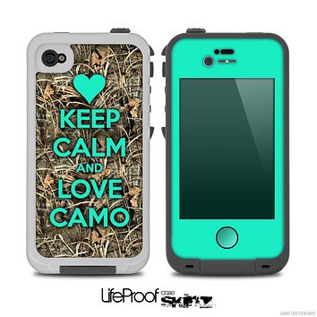 The Trendy Green V2 Keep Calm & Love Camo Real Woods Skin for the iPhone 4-4s LifeProof Case