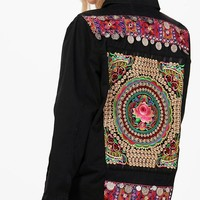 Nicole Embroidered Back Festival Jacket | Boohoo