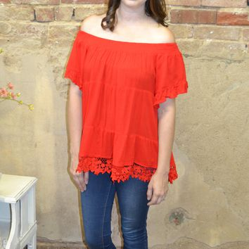 Red Hot Ruffle Top