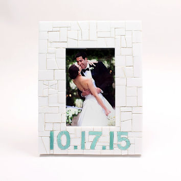 Personalized Wedding Date Mosaic Picture Frame for Unique Engagement Gift