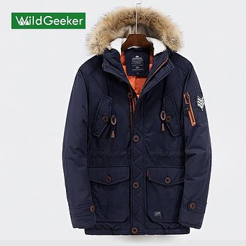 Wildgeeker Men's Winter Thermal Down Coats 2017 New Solid Pockets Hooded Fur Hat Buttons Arms Zipper Men's Casual Straight Coats