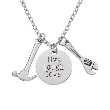 Creative Silver Color Tool Hammer Wrench Necklaces & Pendant With Letters Live Laugh Love Necklace For Best Friends Gifts Hiphop