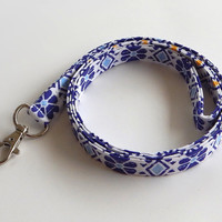 Blue Tribal Lanyard / Floral Tribal Print / Boho Keychain / Bohemian / Key Lanyard / Tribal Print / ID Badge Holder / Fabric Lanyard