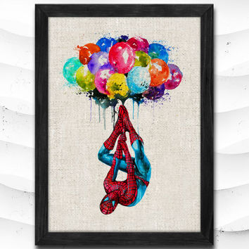 Spiderman Superhero Watercolor Print Archival Fine Art Print Princess Room Nursery Kids Room Gift Linen Poster CAP51