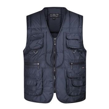 Winter Blue Cotton Vest For Men Autumn Travel Photographer Warm Thick Padded 2 Colors Multi Pocket Sleeveless Jacket Waistcoat