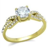 Gold Stainless Steel Brilliant CZ Engagement Ring