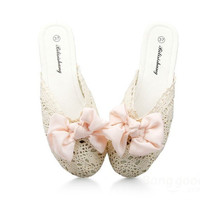 Lace Butterfly Knot Flat Slip On Slippers