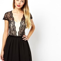 ASOS Scallop Mesh Insert Lace Skater Dress - Nude