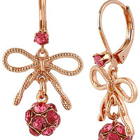 ROSE GOLD BOW BALL DROP EARRING
