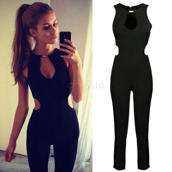 Overalls Rompers Womens Jumpsuit 2015 New Fashion Women jumpsuit solid color sleeveless Backless jumpsuit Simple and elegant 50