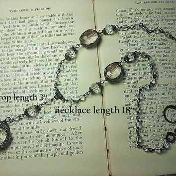 OOAK Romantic Vintage-look Antiqued Sterling Silver (handmade chain) & Glass Crystal Heart Drop Necklace
