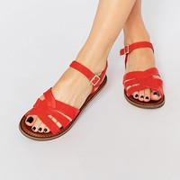 TOMS Zoe Red Leather Flat Sandals