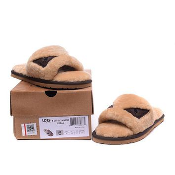 ESBON UGG Big Eyes Little Monster Slipper Women Men Fashion Casual Wool Winter Snow Boots Chestnut