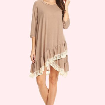 Lace Ruffle Accent Tunic Dress - Taupe