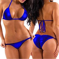 Two Piece Blue Metallic Triangle Top & Side Tie Scrunch Bottom Set (Many Colors Available)