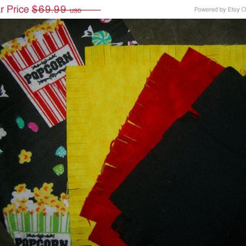 "Flannel rag quilt kit Popcorn and movie fringed die cut fabric squares and batting complete and  ready to sew 45.5""x58.5"