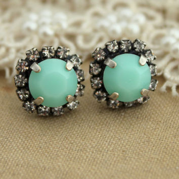 Mint Green Rhinestone stud earring - Oxidized Silver plating earrings real swarovski rhinestones .