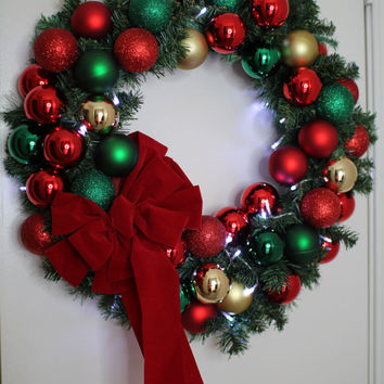 "Beautiful  24 ""Christmas 40 LED Light Door Wreath Front Door  Wreath Ornament Wreath With Lights Holiday Christmas Wreath"