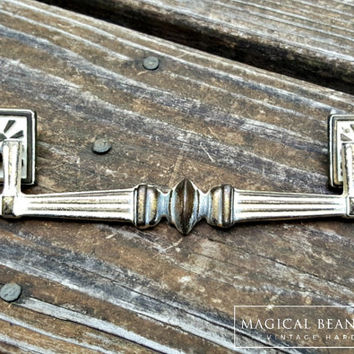 Cottage Chic Dresser Pulls Rustic Farmhouse Drawer Pulls Square Drop Bail Pulls Ivory & Brass Dresser Hardware Vintage Drawer Pull Handles