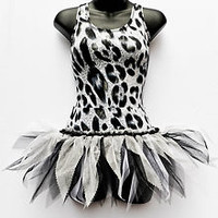 TUTU DANCE STAGE COSTUME SNOW LEOPARD CAT PRINT FREESTYLE SLOW SOLO DISCO OUTFIT