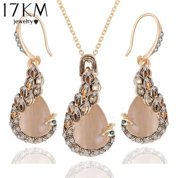 Jewelry Sets Austrian Crystal Circle Opal Gold lace earrings