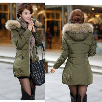 Women's Winter Thicken Keep Warm Down Zipper jacket Long Cotton-padded Outwear VVF = 1929609412