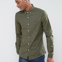ASOS Casual Regular Fit Oxford Shirt In Khaki at asos.com