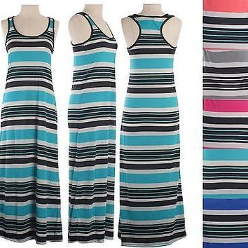 Scoop Neck Multi Colors Striped Sleeveless Racerback Long Maxi Dress Full Length