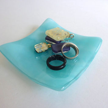Small Fused Glass Ring Dish in Streaky Aqua and White