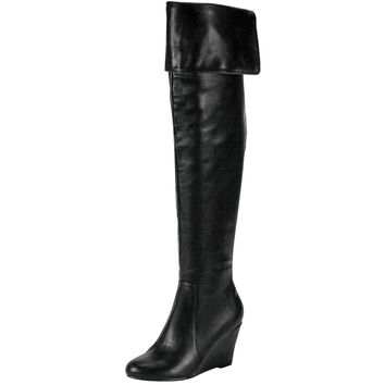 Womens Knee High Boots Optional Fold Over Cuff High Wedge Shoes Black SZ
