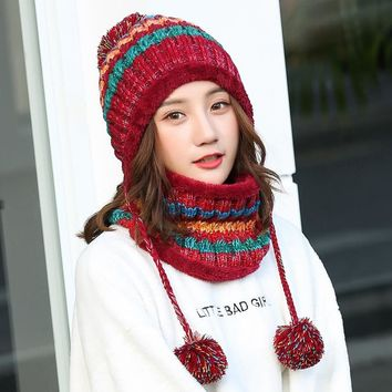 Sweet Women Knitted Ball Top Hat Thick Winter Thermal Earflap Skullies & Beanies with Velvet Casual All Match Female Cap MZ043