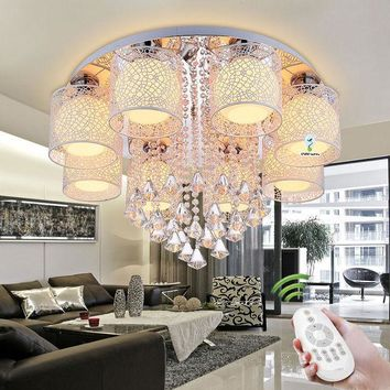 Crystal Ceiling Chandelier Lighting Living, Dining Room, Bedroom w/ Remote
