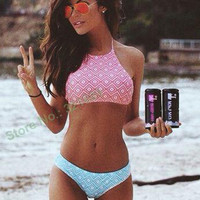 2016 plaid crop tops bikini padded tank tops bikini print plaid swimwear constrast color bathing suits high neck halter bikini