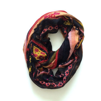 Navy Blue Tribal Infinity Scarf, Women Accessory, Fashion Scarf
