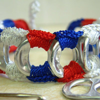 Patriotic Bracelet ReCycladelic Upcycled Pop Top Bracelet Patriot's Dream in Red White Blue soda tab tie on
